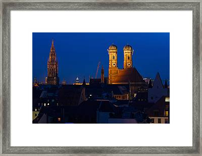 Town Hall With A Church At Night Framed Print by Panoramic Images