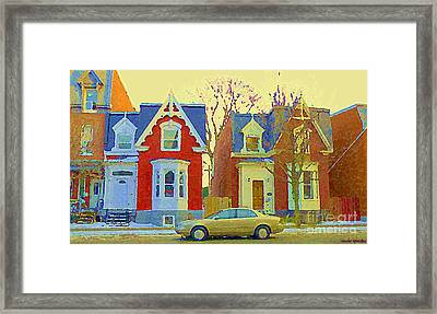 Town Houses In Winter Suburban Side Street South West Montreal City Scene Pointe St Charles Cspandau Framed Print by Carole Spandau