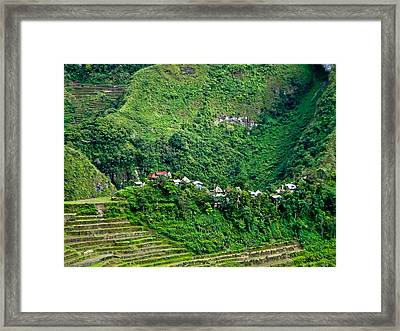 Town In Banaue Rice Terraces Framed Print