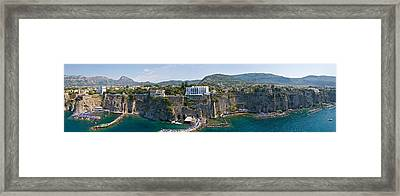 Town On A Cliff, Sorrento, Naples Framed Print