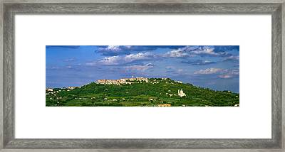 Town On A Hill, Montepulciano, Val Di Framed Print by Panoramic Images