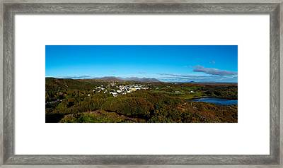 Town On A Hill With 12 Pin Mountain Framed Print by Panoramic Images