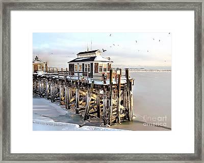 Town Pier Frozen Framed Print