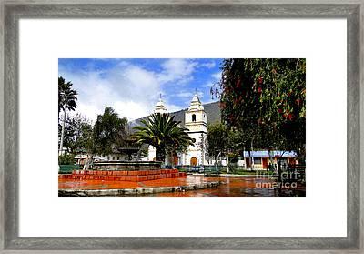Town Square In Penipe Ecudor Framed Print by Al Bourassa
