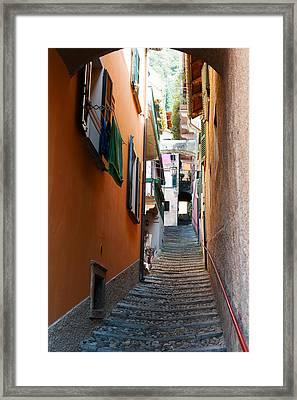 Town Steep Street, Varenna, Como Framed Print