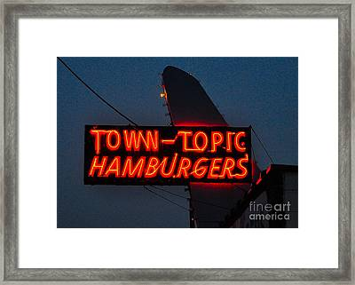 Town Topic  Neon Framed Print
