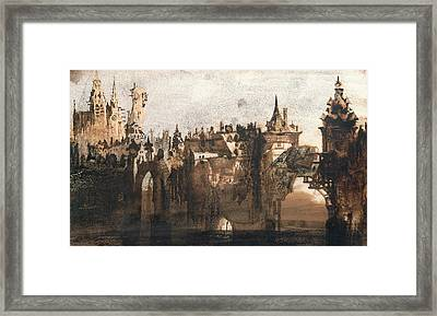 Town With A Broken Bridge Framed Print by Victor Hugo
