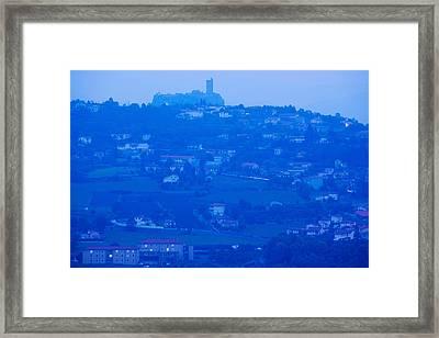Town With Chateau De Polignac Framed Print