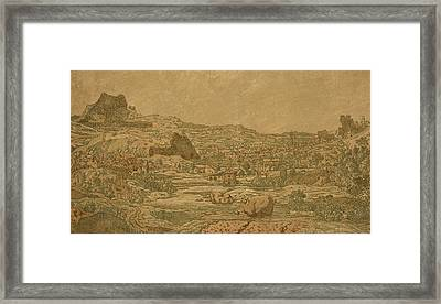 Town With Four Towers Framed Print by Hercules Segers