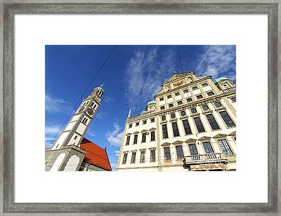 Townhall Of Augsburg With St. Peter Framed Print by Michael Osterrieder
