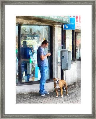 Towns - Pay Phone Framed Print by Susan Savad