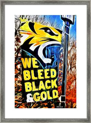 Towson Tigers Black And Gold Framed Print by Stephen Younts