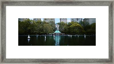 Toy Boats Floating On Water, Central Framed Print