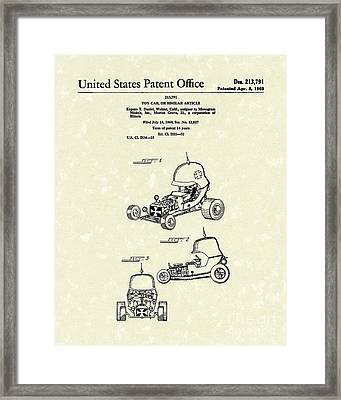 Toy Car 1969 Patent Art Framed Print by Prior Art Design