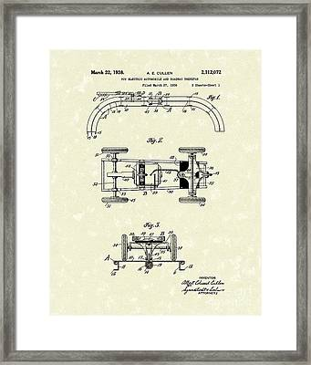 Toy Car And Track 1938 Patent Art Framed Print by Prior Art Design