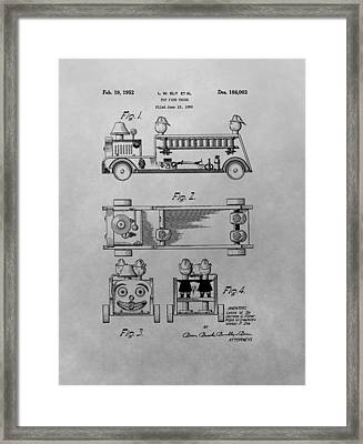 Toy Fire Engine Patent Drawing Framed Print by Dan Sproul