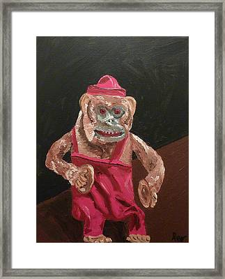 Toy Monkey With Cymbals Framed Print by Joshua Redman