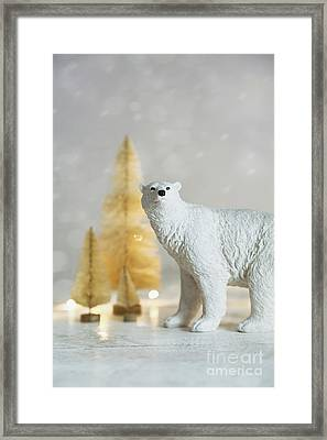 Framed Print featuring the photograph Toy Polar Bear With Little Gold Trees And Lights by Sandra Cunningham