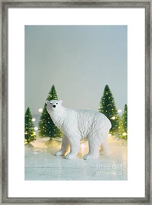 Toy Polar Bear With Little Trees And Lights Framed Print by Sandra Cunningham