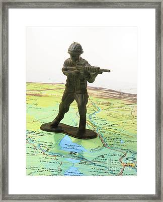 Toy Solider On Iraq Map Framed Print by Amy Cicconi