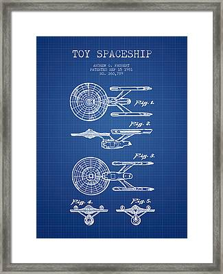 Toy Spaceship Patent From 1981 - Blueprint Framed Print by Aged Pixel