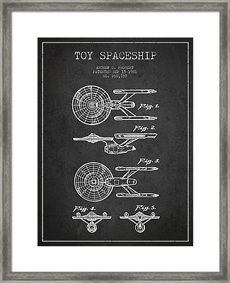 Toy Spaceship Patent From 1981 - Dark Framed Print by Aged Pixel
