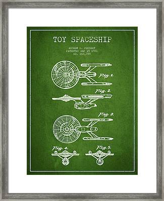 Toy Spaceship Patent From 1981 - Green Framed Print by Aged Pixel