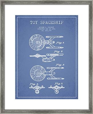 Toy Spaceship Patent From 1981 - Light Blue Framed Print by Aged Pixel