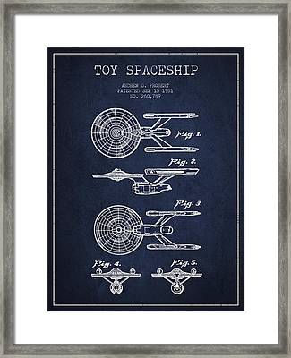 Toy Spaceship Patent From 1981 - Navy Blue Framed Print by Aged Pixel