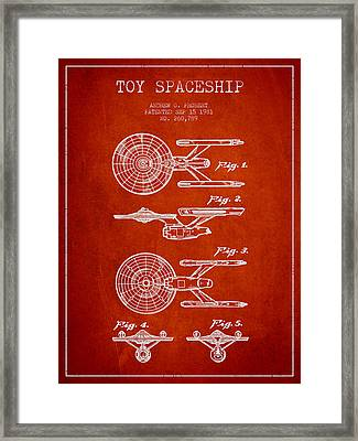 Toy Spaceship Patent From 1981 - Red Framed Print by Aged Pixel