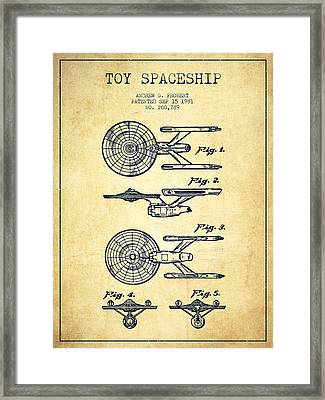 Toy Spaceship Patent From 1981 - Vintage Framed Print