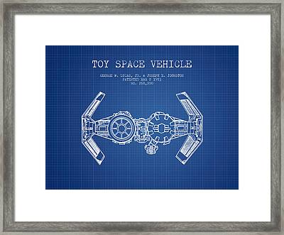 Toy Spaceship Vehicle Patent From 1983 - Blueprint Framed Print by Aged Pixel