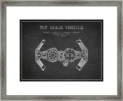 Toy Spaceship Vehicle Patent From 1983 - Dark Framed Print by Aged Pixel