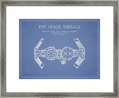 Toy Spaceship Vehicle Patent From 1983 - Light Blue Framed Print by Aged Pixel