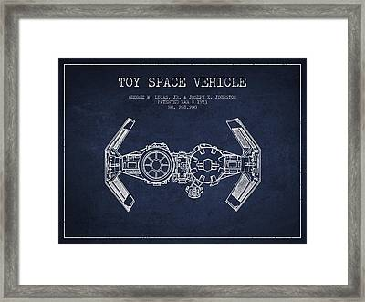 Toy Spaceship Vehicle Patent From 1983 - Navy Blue Framed Print by Aged Pixel
