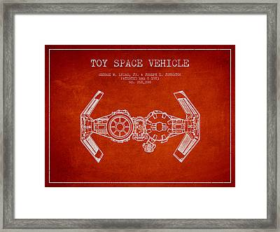 Toy Spaceship Vehicle Patent From 1983 - Red Framed Print by Aged Pixel