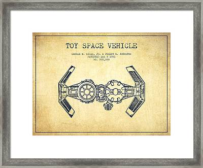 Toy Spaceship Vehicle Patent From 1983 - Vintage Framed Print by Aged Pixel