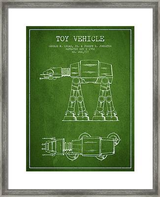 Toy Vehicle Patent From 1982 - Green Framed Print by Aged Pixel