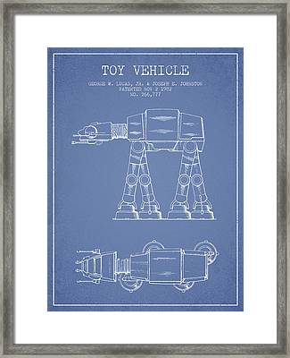 Toy Vehicle Patent From 1982 - Light Blue Framed Print by Aged Pixel