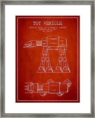 Toy Vehicle Patent From 1982 - Red Framed Print by Aged Pixel