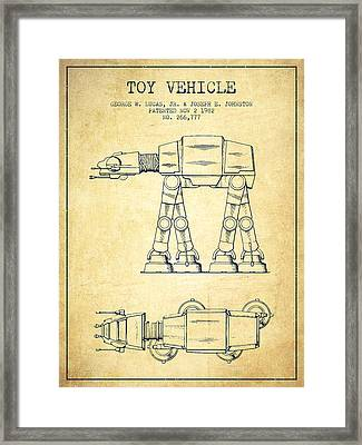 Toy Vehicle Patent From 1982 - Vintage Framed Print by Aged Pixel