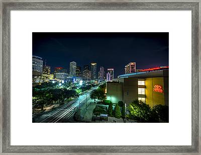 Toyota Center And Downtown Houston Framed Print