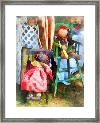 Toys - Two Rag Dolls At Flea Market Framed Print by Susan Savad