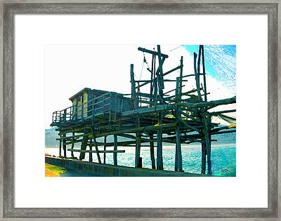 Trabocco 3 - Fishermen Stuff Framed Print by Marcello Cicchini
