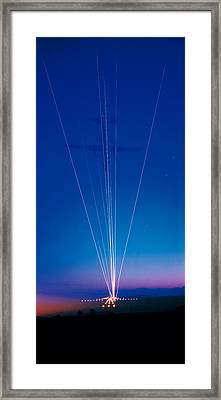 Track Lights Zurich Airport Switzerland Framed Print by Panoramic Images
