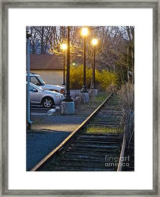 Tracks At Dusk Framed Print