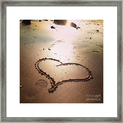 Tracks Of Love In The Sand Framed Print by Stephanie  Varner
