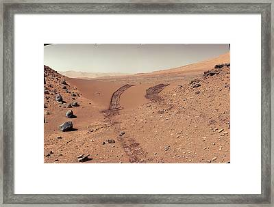 Tracks Of The Curiosity Rover On Mars Framed Print by Nasa/jpl-caltech/msss