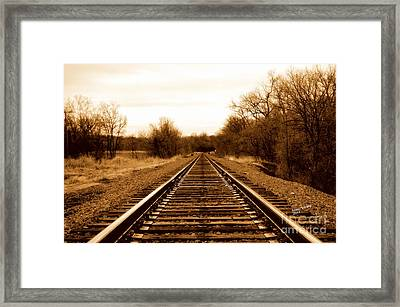 Framed Print featuring the photograph Tracks To No Where by Karen Kersey