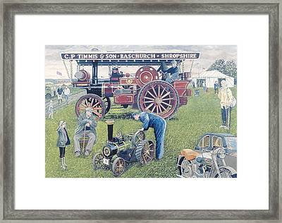 Traction Engines At The Show, 1993 Gouache On Card Framed Print